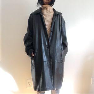 80s/90s Eddie Bauer Leather Coat Jacket